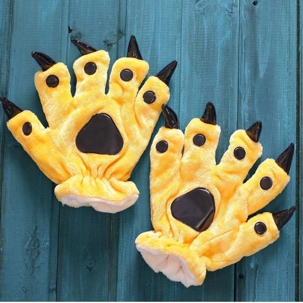 Yellow Kigurumi Unisex Onesies Animal Hands Paw Flannel