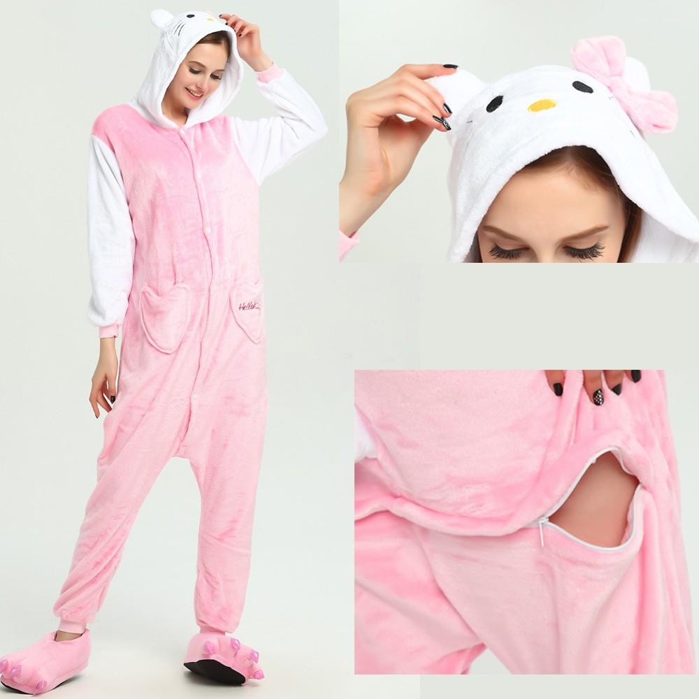 4ea8081d8 Pink Hello Kitty Onesie for Adult Animal Pajamas Kigurumi Party Costumes