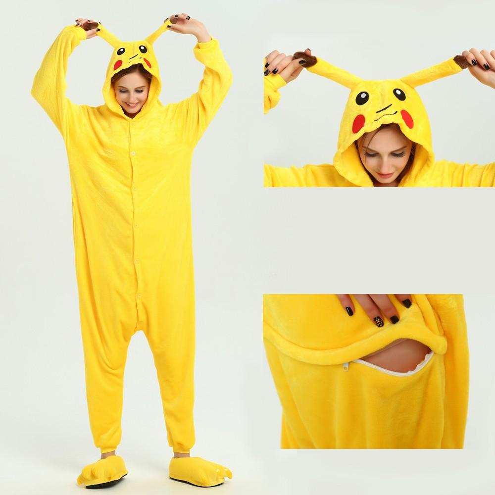 Pikachu Onesie for Adult Animal Pajamas Kigurumi Pokemon Party Costumes 93dea2313f30