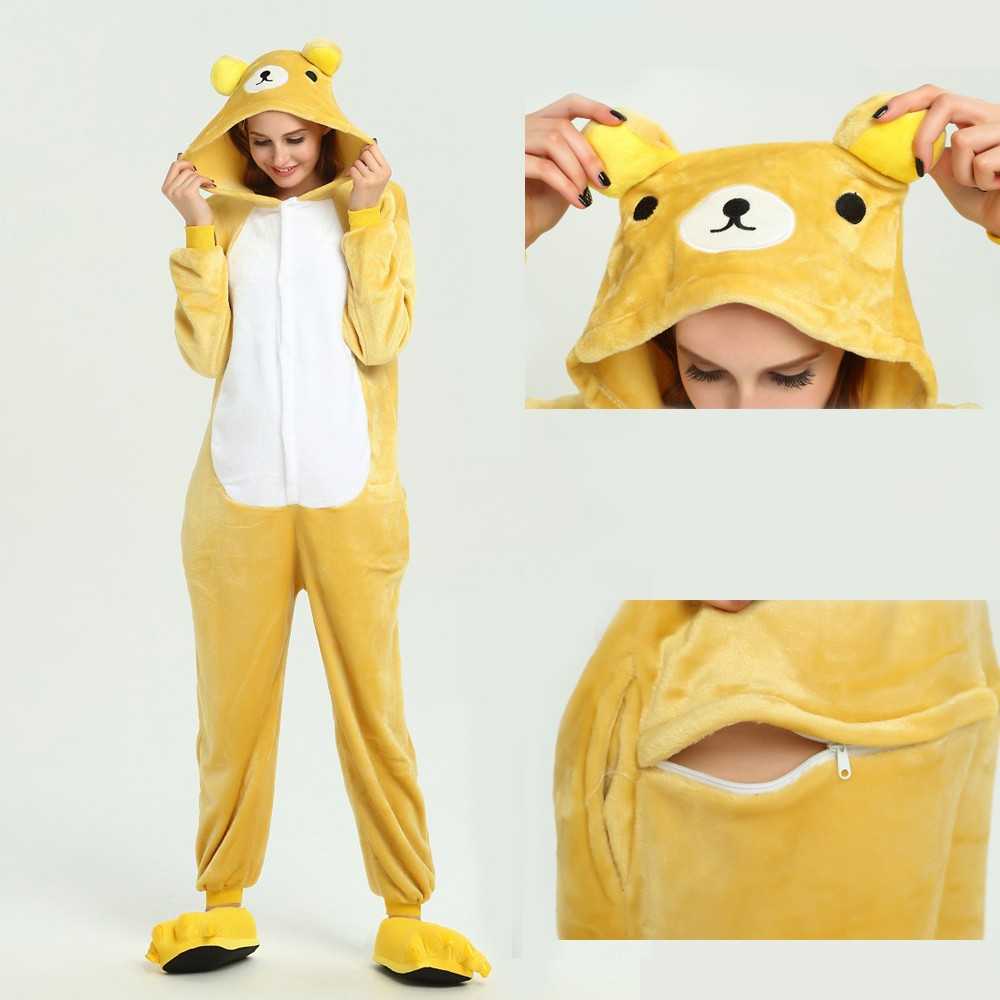 00e3a5895bf1 Rilakkuma Onesie Animal Kigurumi Pajama for Adult Halloween Party Costumes
