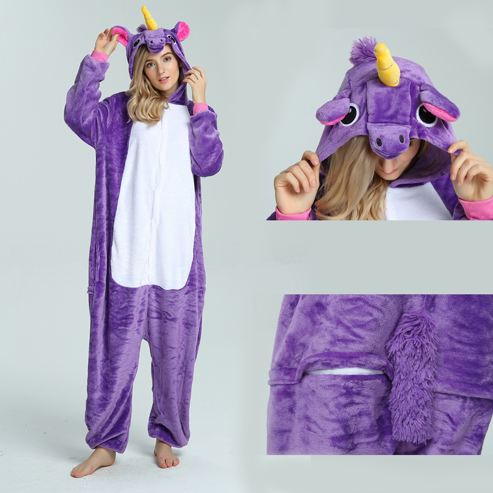 47fed83eb945 Purple Unicorn Onesie for Adult Kigurumi Pajama Halloween Costumes