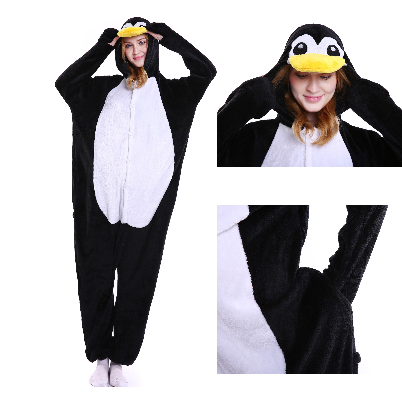 c7a5402b14e6 Penguin Onesie Animal Kigurumi Pajama for Adult Halloween Party Costumes