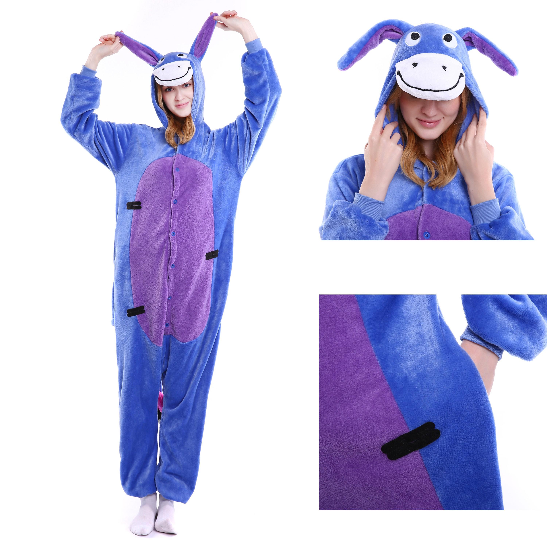 e0db82e75c22 Eeyore Donkey Onesie for Adult Animal Kigurumi Pajama Disney Winnie the  Pooh Party Costumes