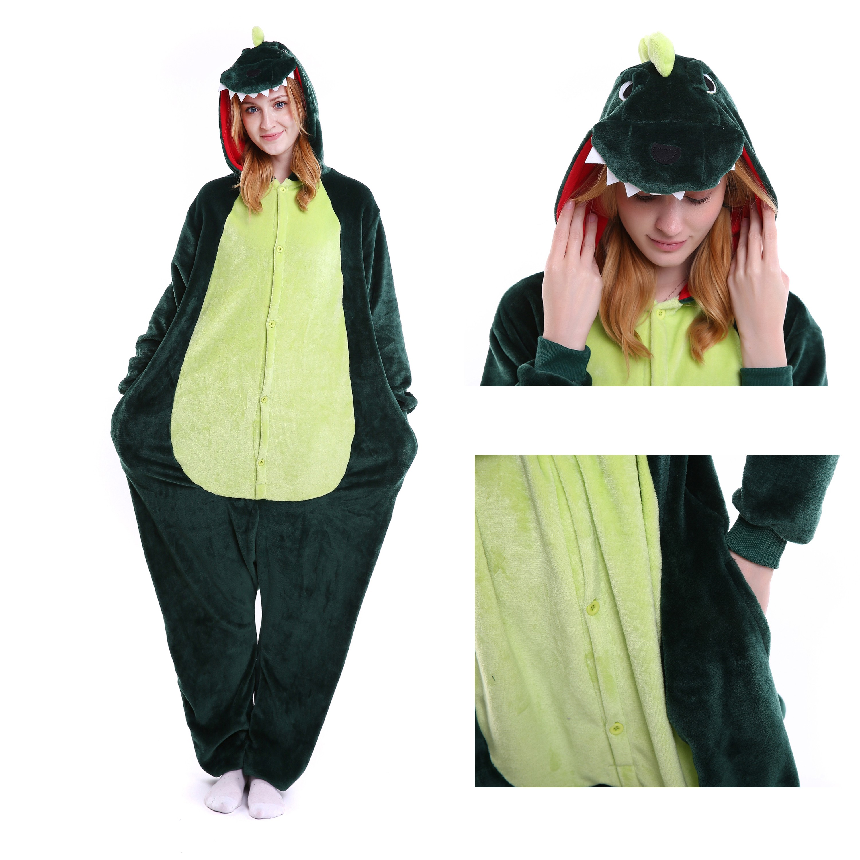a6ef105805bb Green Dinosaur Onesie for Adult Animal Kigurumi Pajama Party Costumes