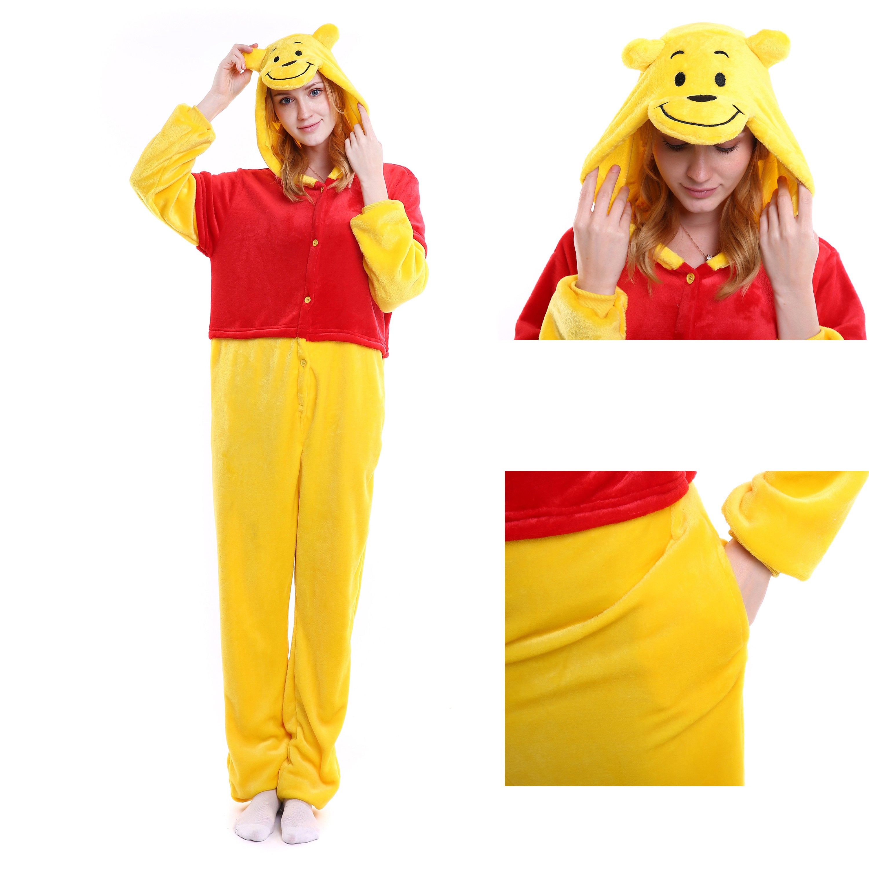 6976d58073 Winnie the Pooh Onesie for Adult Animal Kigurumi Disney Pajama Party  Costumes