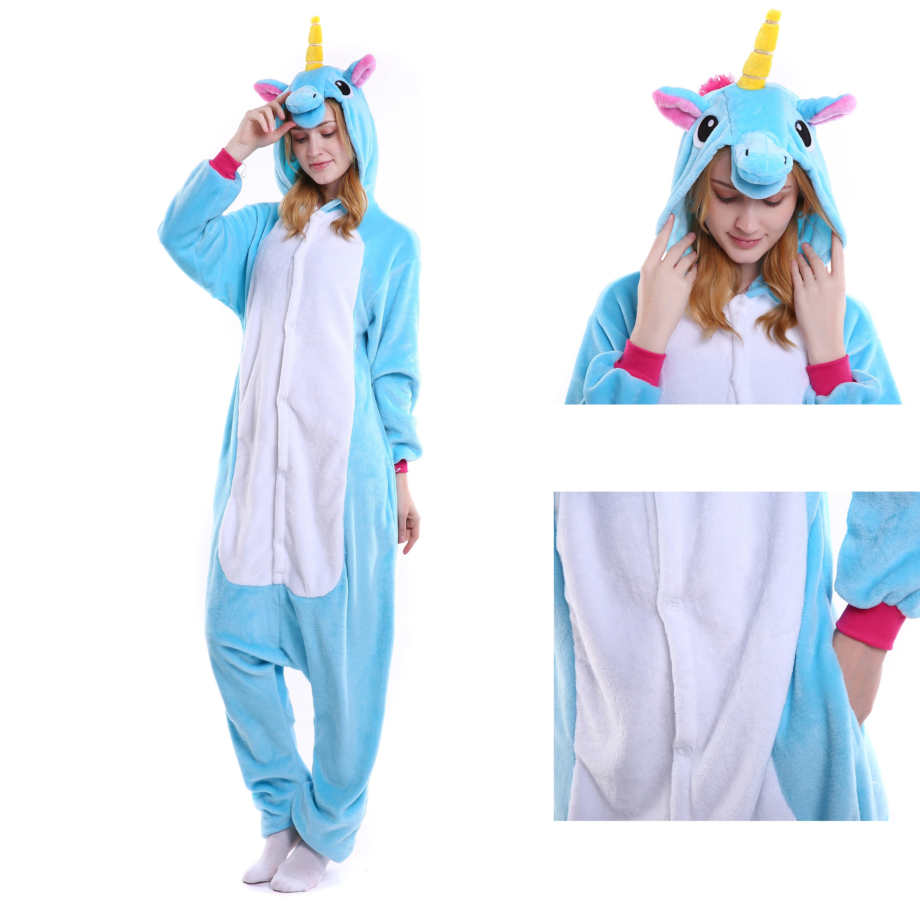 feb8200a4b1b Blue Unicorn Onesie for Adult Kigurumi Pajama Halloween Costumes