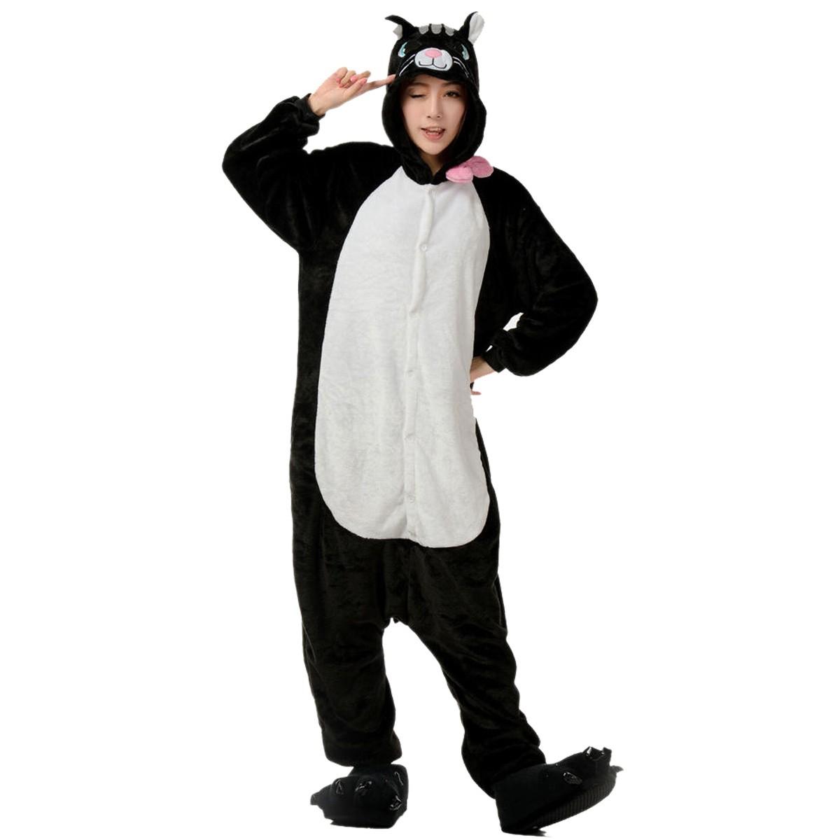 black cat onesie, black cat pajamas for adult buy now