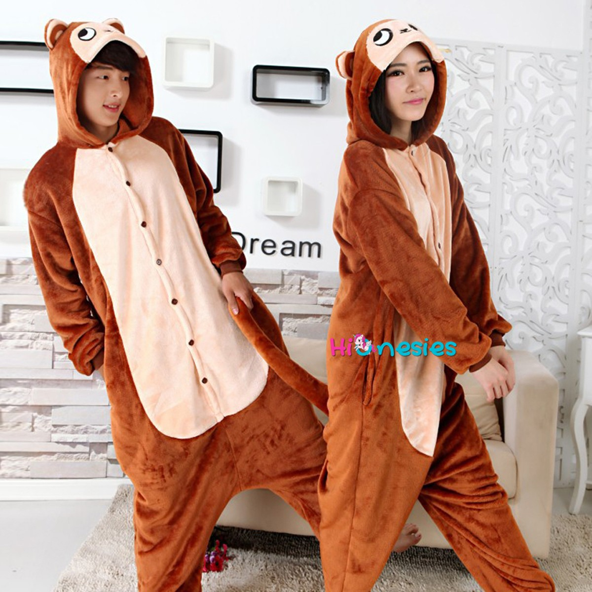 3573b708b5 Loading ... Brown Monkey Onesie Unisex Women   Men Animal Kigurumi Pajama  Party Costumes ...