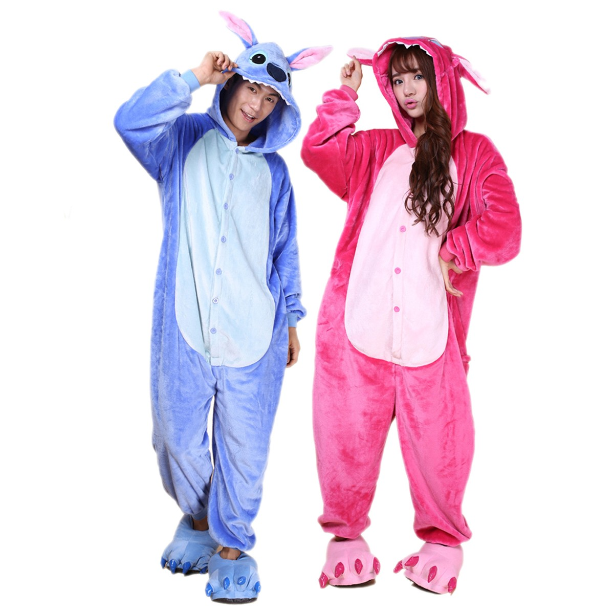6e840b2653f9 Stitch and Angel Onesie for Adult Kigurumi Pajama Disney Lilo & Stitch  Halloween Costumes