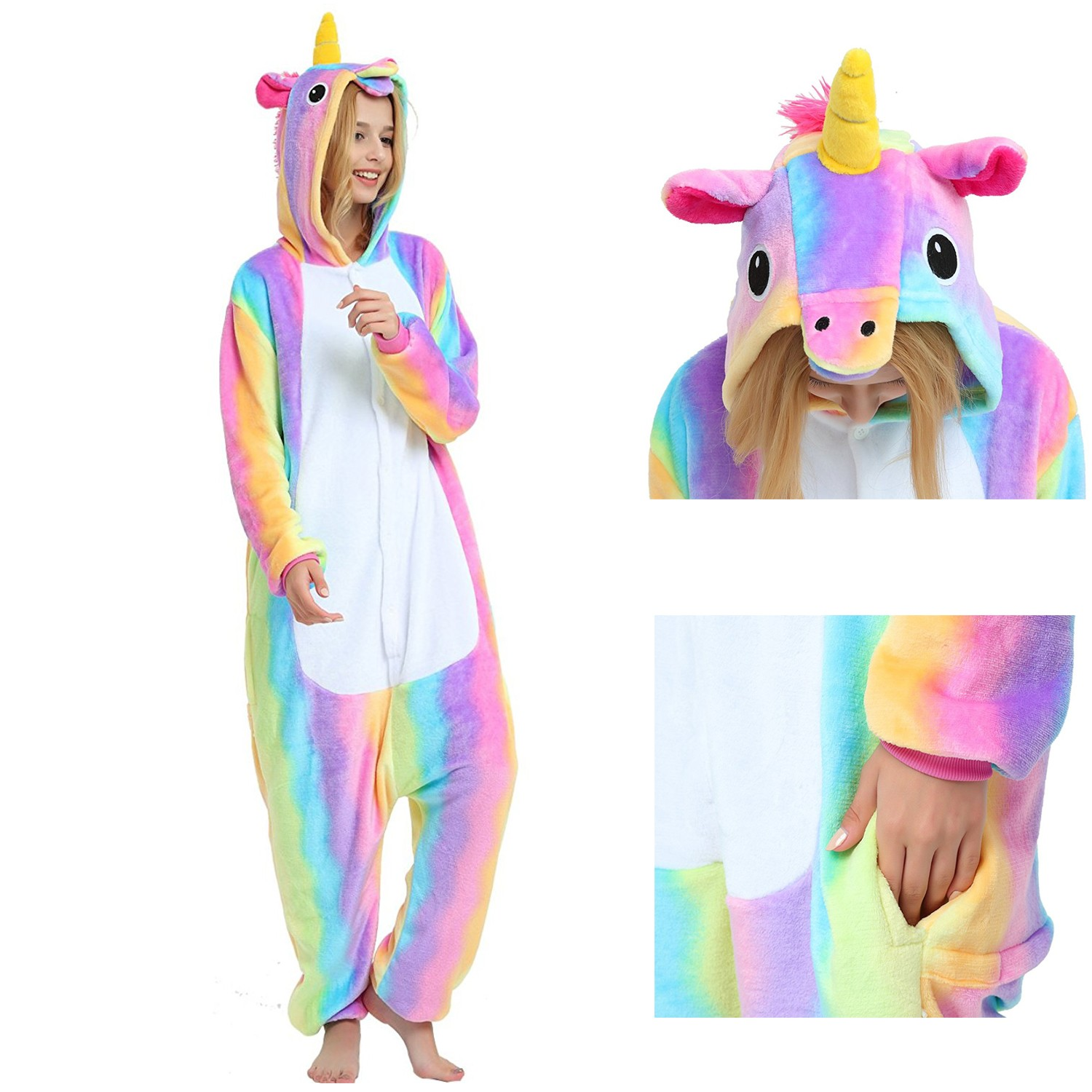a06727d505e8 Rainbow Unicorn Onesie Unisex Women   Men Animal Pajamas Kigurumi Halloween  Costumes