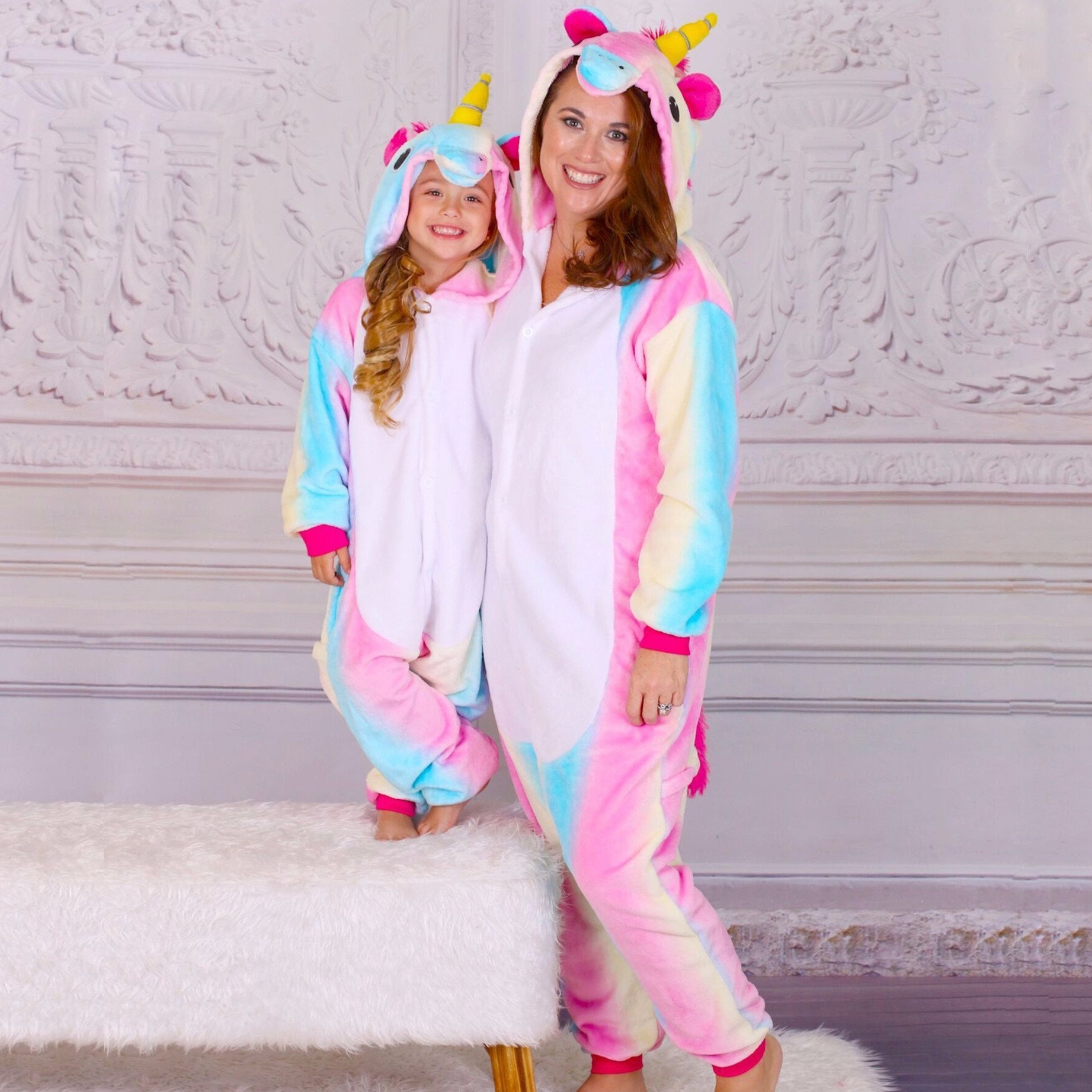 3ef3a42dd Mommy & Me Rainbow Unicorn Pajamas for Mother and Daughter