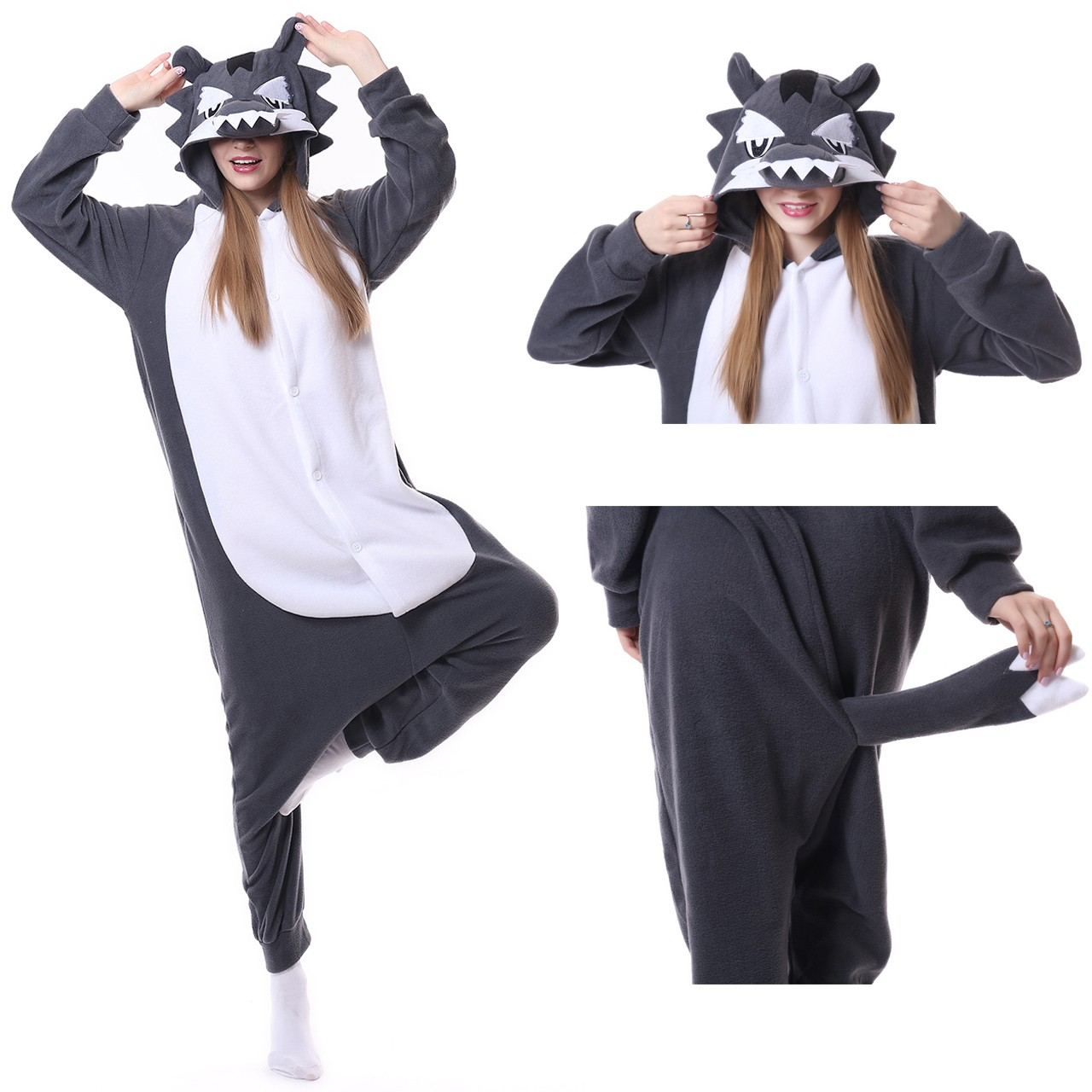 8eab00f6bcd0 Timber Wolf Onesie Unisex Women   Men Kigurumi Pajama Halloween Costumes