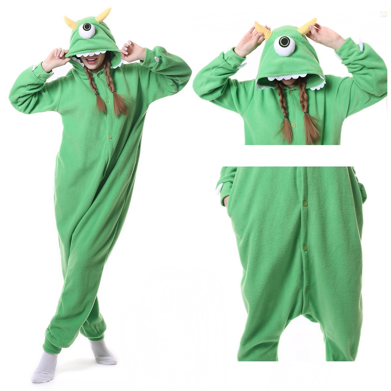 c28083eb612a One Eyed Monster Disney Onesie Kigurumi Cartoon Pajama for adult Monsters  Inc Costumes