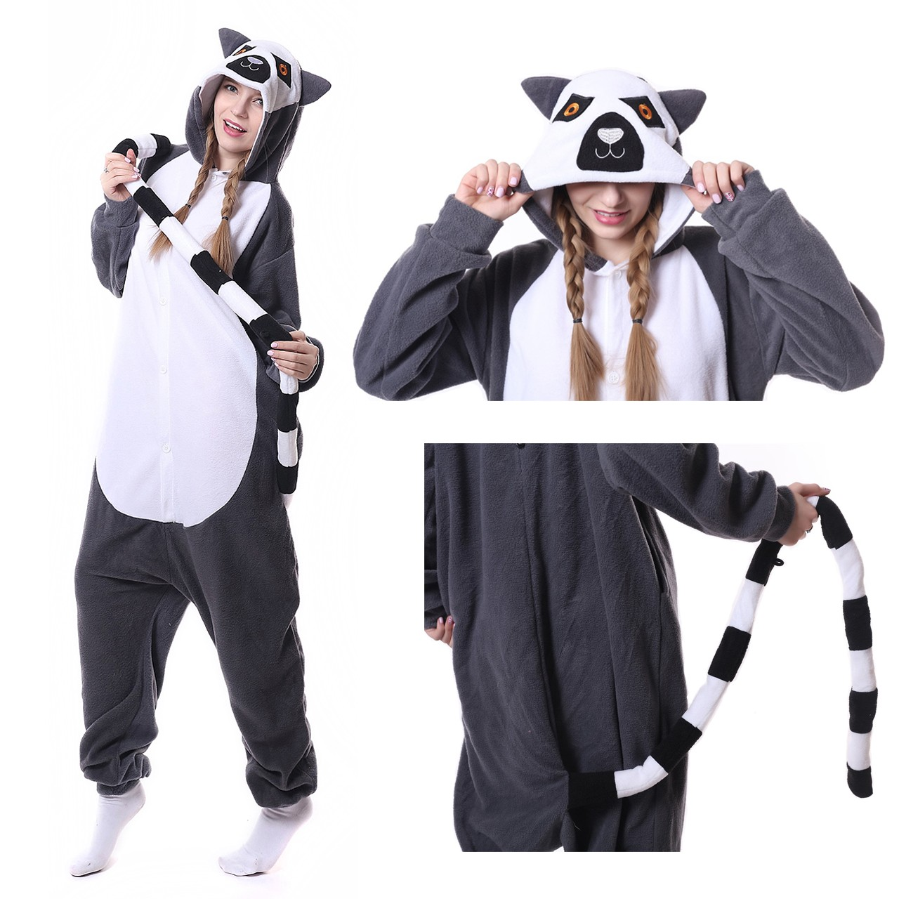 Image of: Cow Lemur Onesie Kigurumi Animal Onesies Women Men Halloween Costumes Hionesiescom Lemur Onesie Lemur Pajamas For Women Men Online Sale