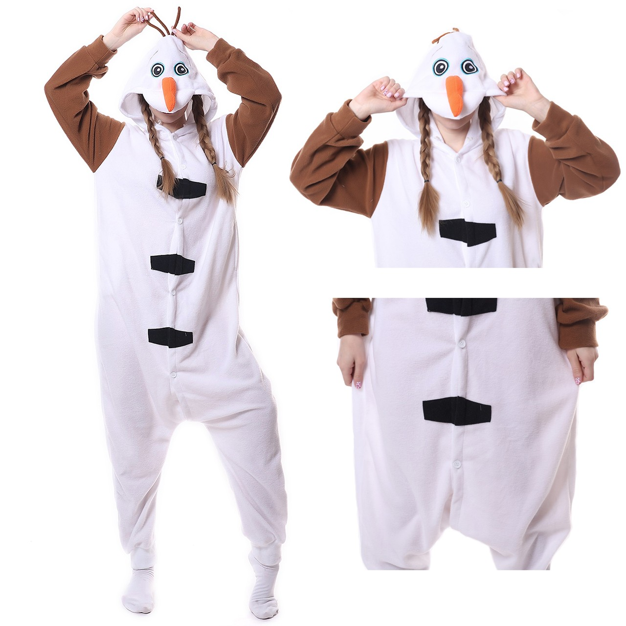 4c9720904bc6 Olaf Onesie Kigurumi Pajama for Adult Party Halloween Frozen Costumes