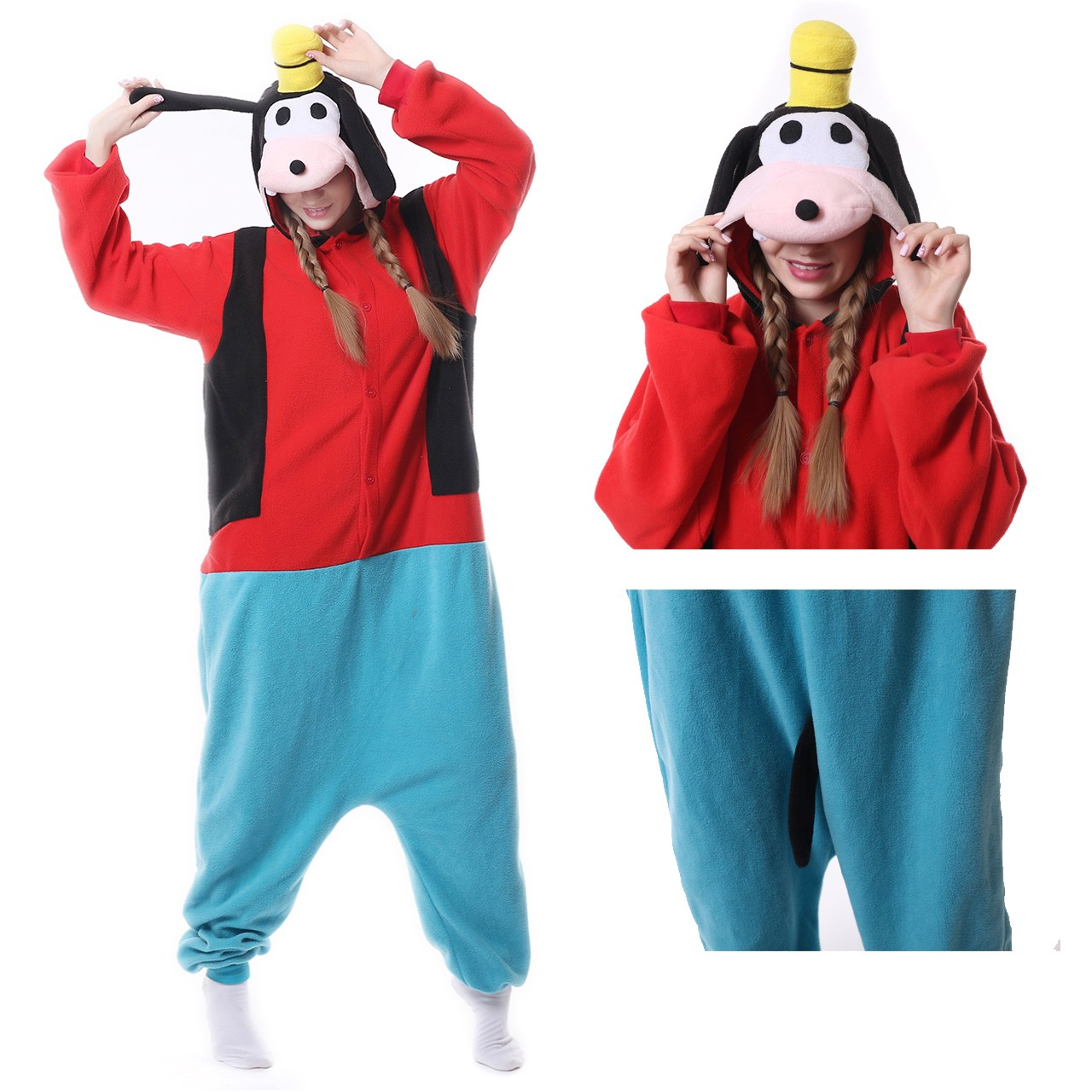 bb815049ad8a Goofy Dog Onesie for Adult Kigurumi Disney Pajama Carnival Party Costumes