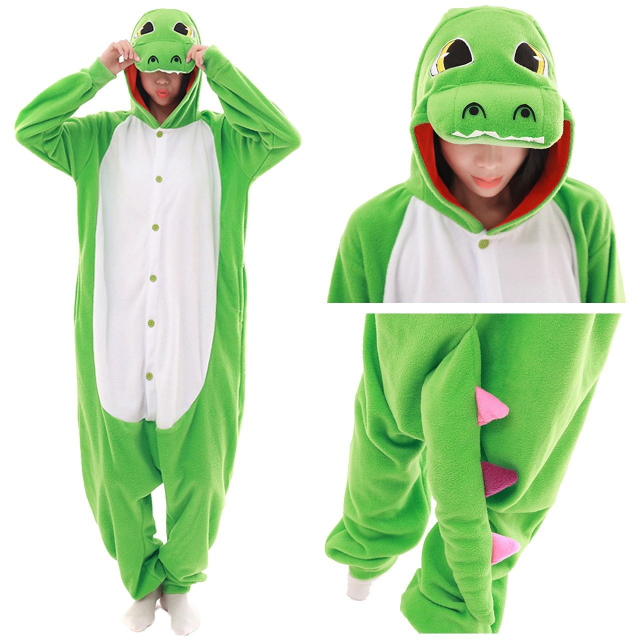 86cf05c8d8a1 Green Crocodile Onesie Animal Kigurumi Pajama Women   Men Halloween  Carnival Costumes