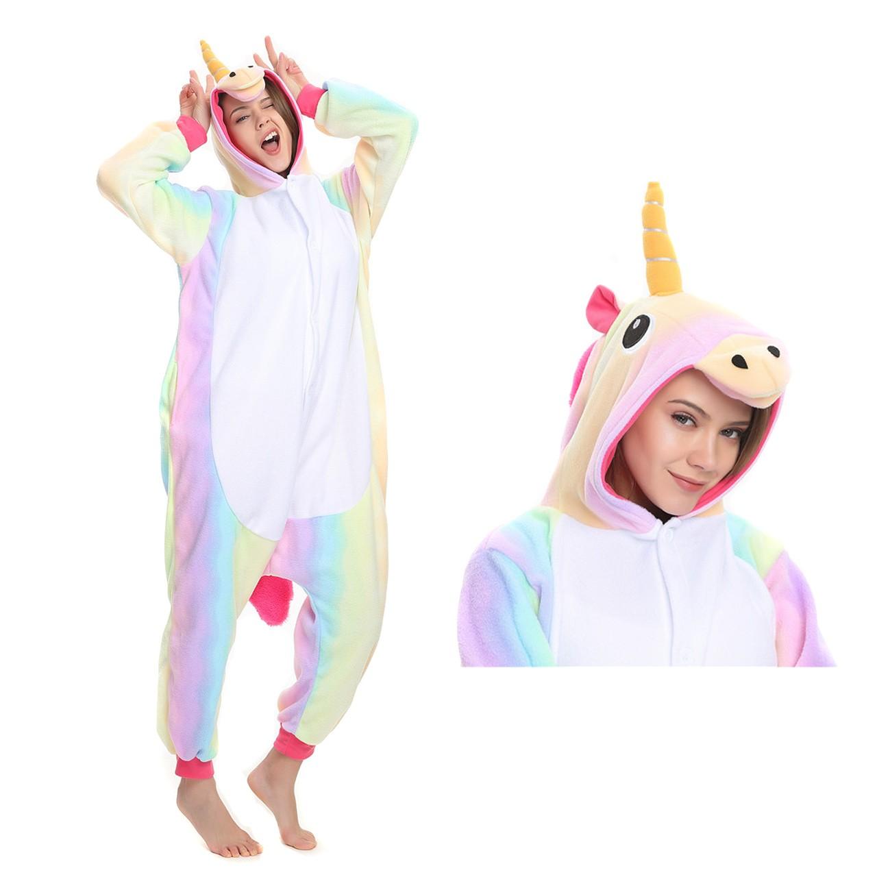 Rainbow Unicorn Onesie Animal Kigurumi Pajama Women   Men Halloween Costumes 18011c7cb