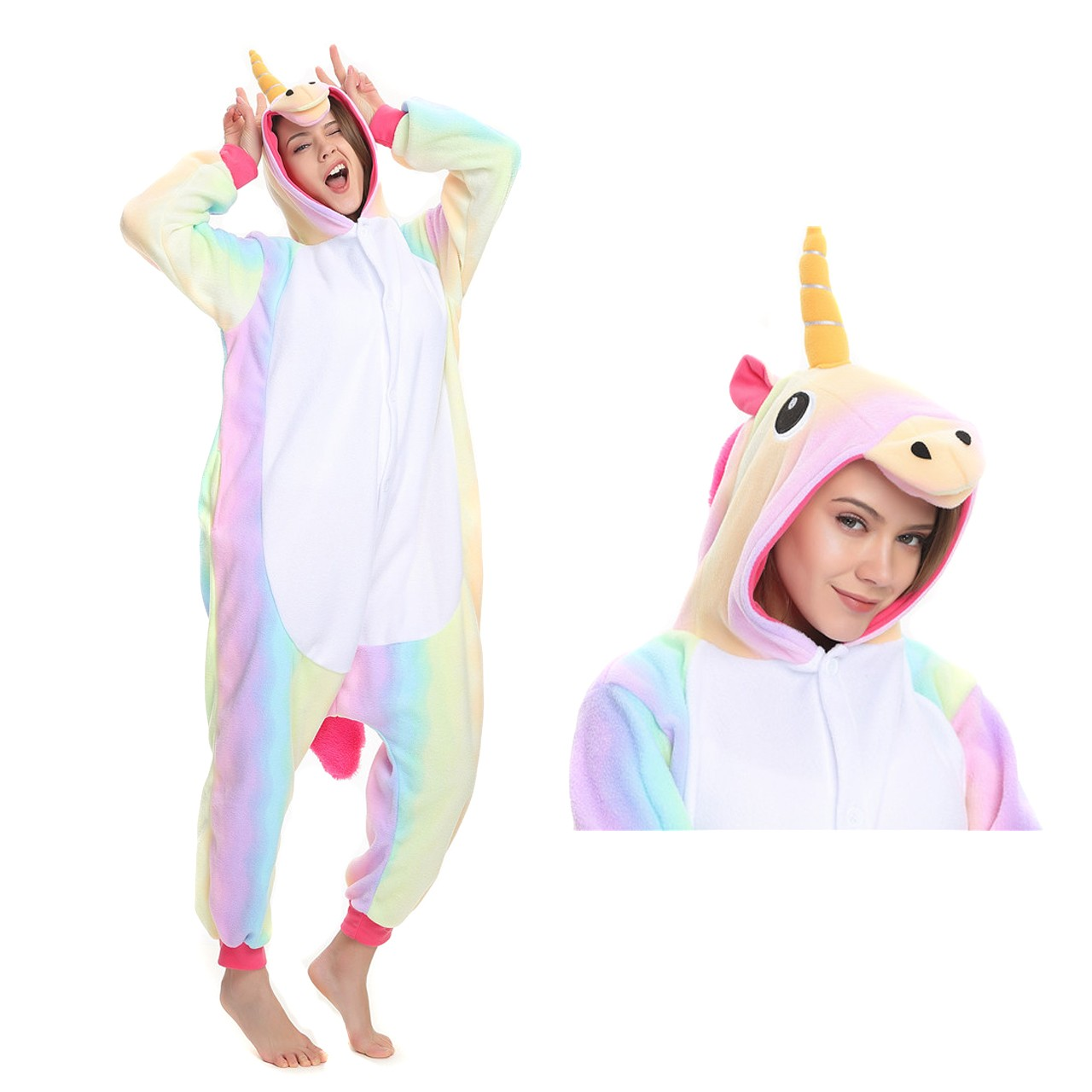 Rainbow Unicorn Onesie Animal Kigurumi Pajama Women   Men Halloween Costumes fbb07ca86