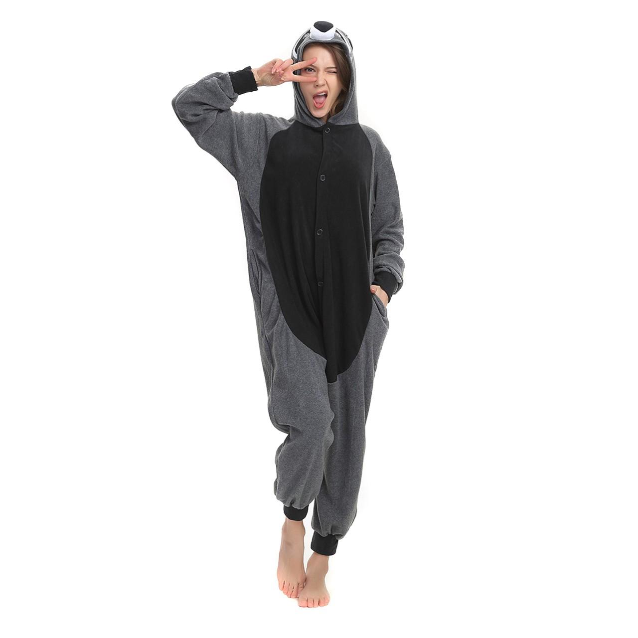e46ae9dd5f85 Gray Panda Raccoon Onesie Animal Kigurumi Pajama Women   Men Halloween  Costumes