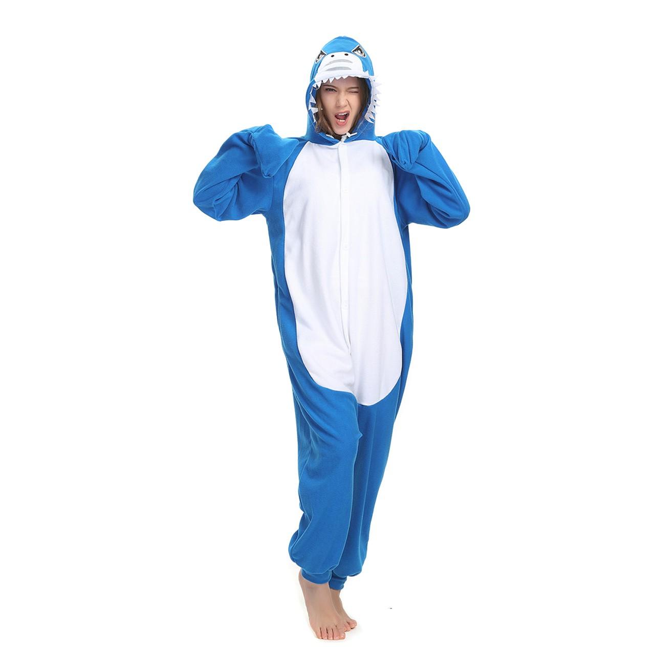 61c1bf45f Shark Onesie Animal Kigurumi Pajama for Adult Halloween Party Costumes