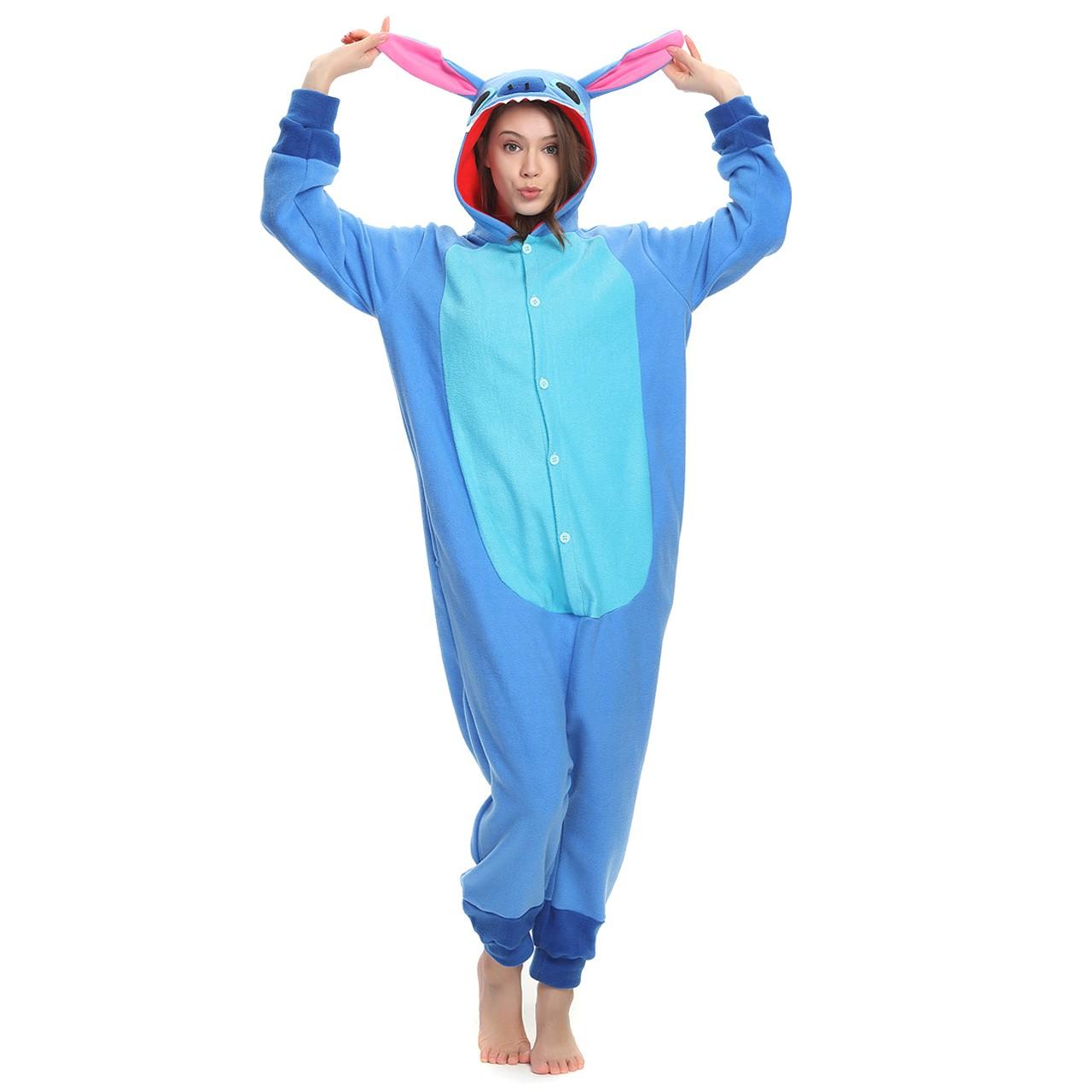 082806efdf3e Stitch Onesie for Adult Kigurumi Pajama Disney Lilo   Stitch Costumes