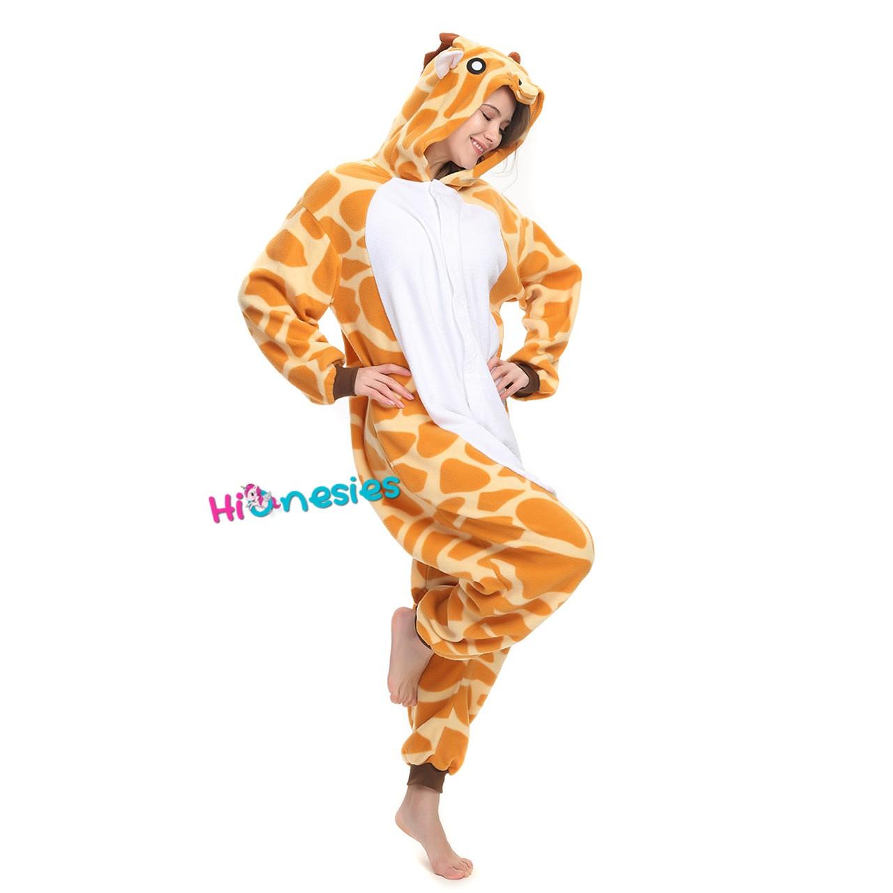 Loading ... Giraffe Onesie Animal Kigurumi Pajama Women   Men Halloween  Carnival Costumes ... e55979397