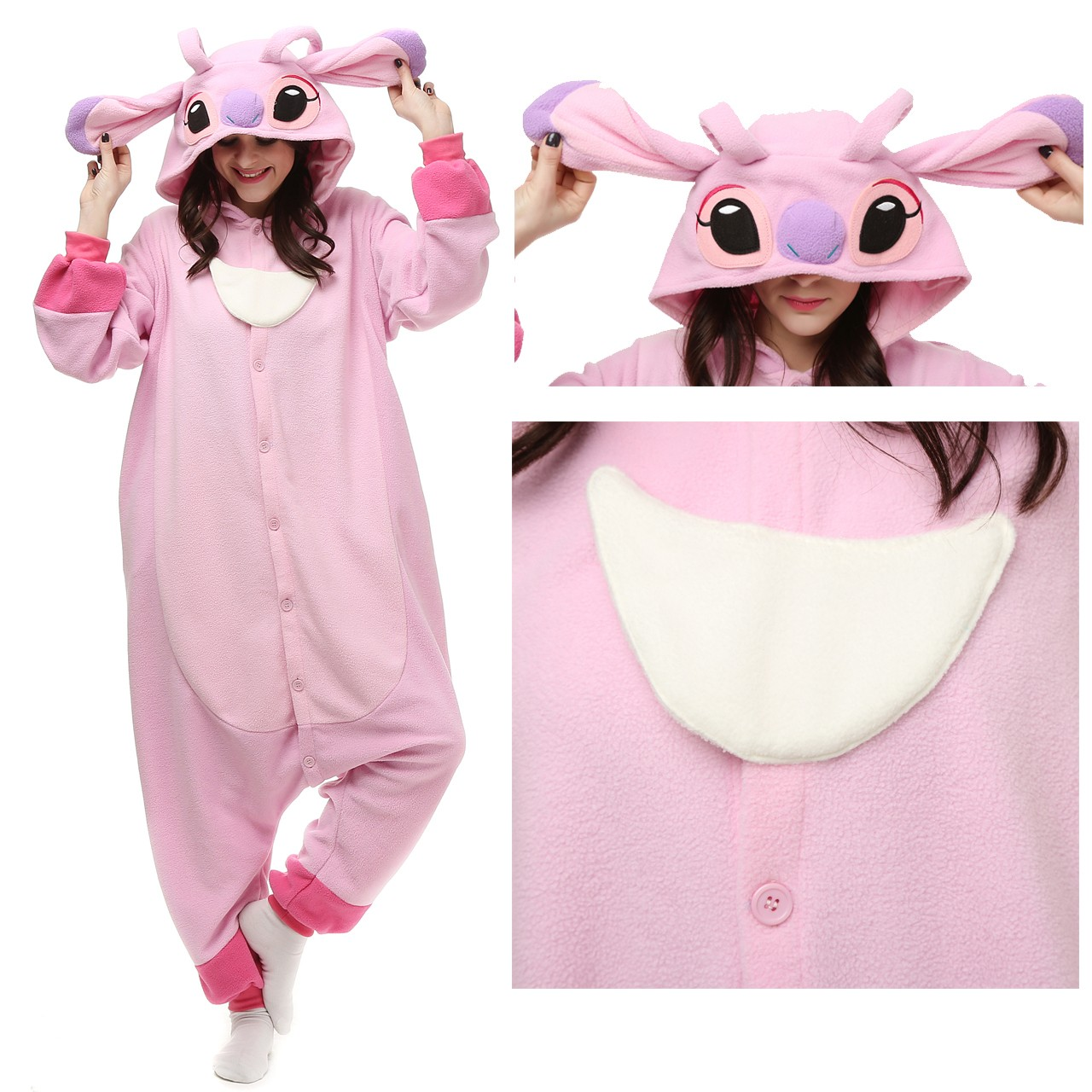 d33207bbb4e7 Disney Angel Stitch Onesie Kigurumi Pajamas Party Halloween Costumes