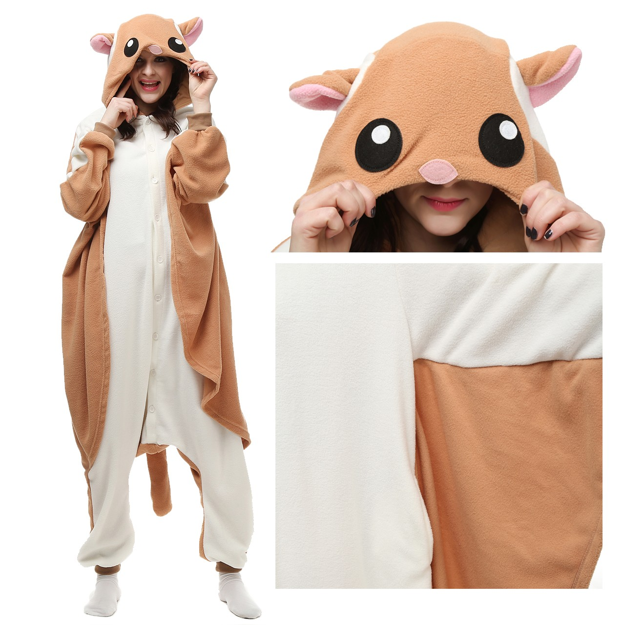 39189518480e Flying Squirrel Onesie Kigurumi Animal Pajama for Adult Party Costumes