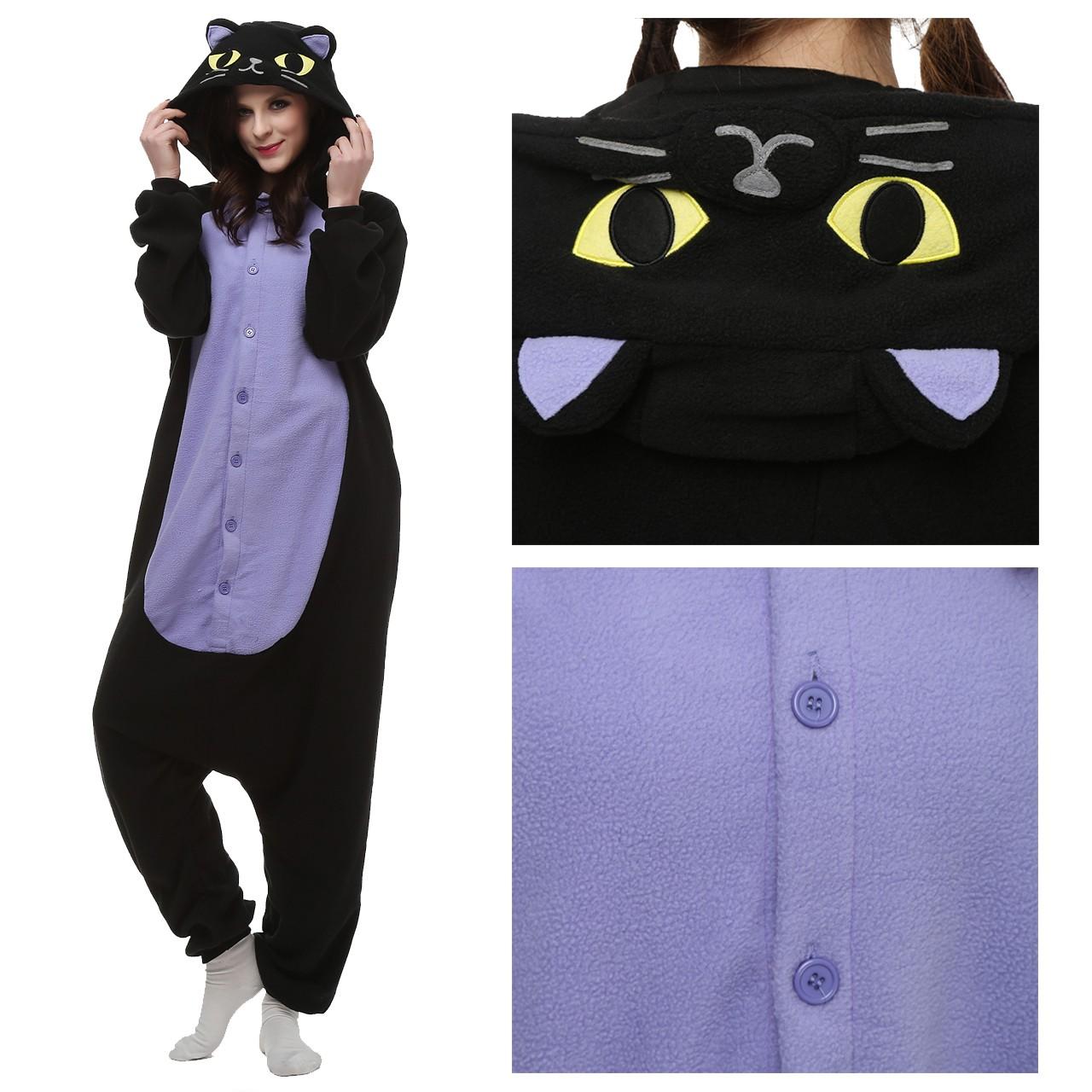 02cffbfd0e75 Midnight Cat Onesie Animal Kigurumi Pajama for Adult Halloween Carnival  Costumes