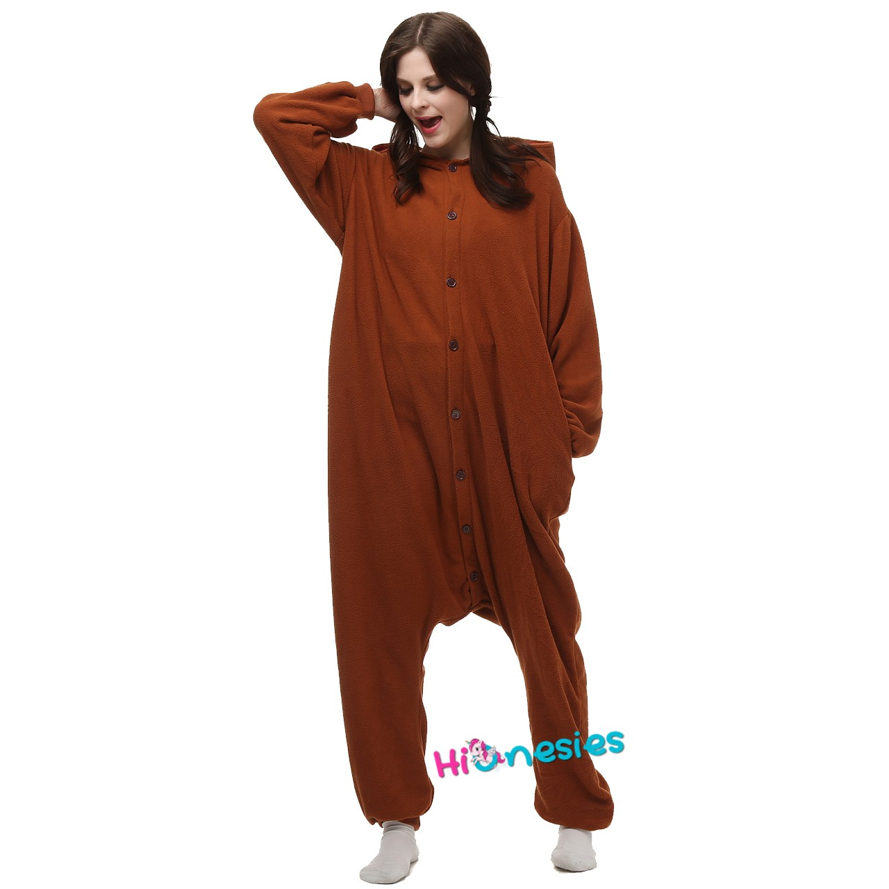 Loading ... Brown Bear Onesie Animal Kigurumi Pajama for Adult Halloween ... cebca48dc0cc