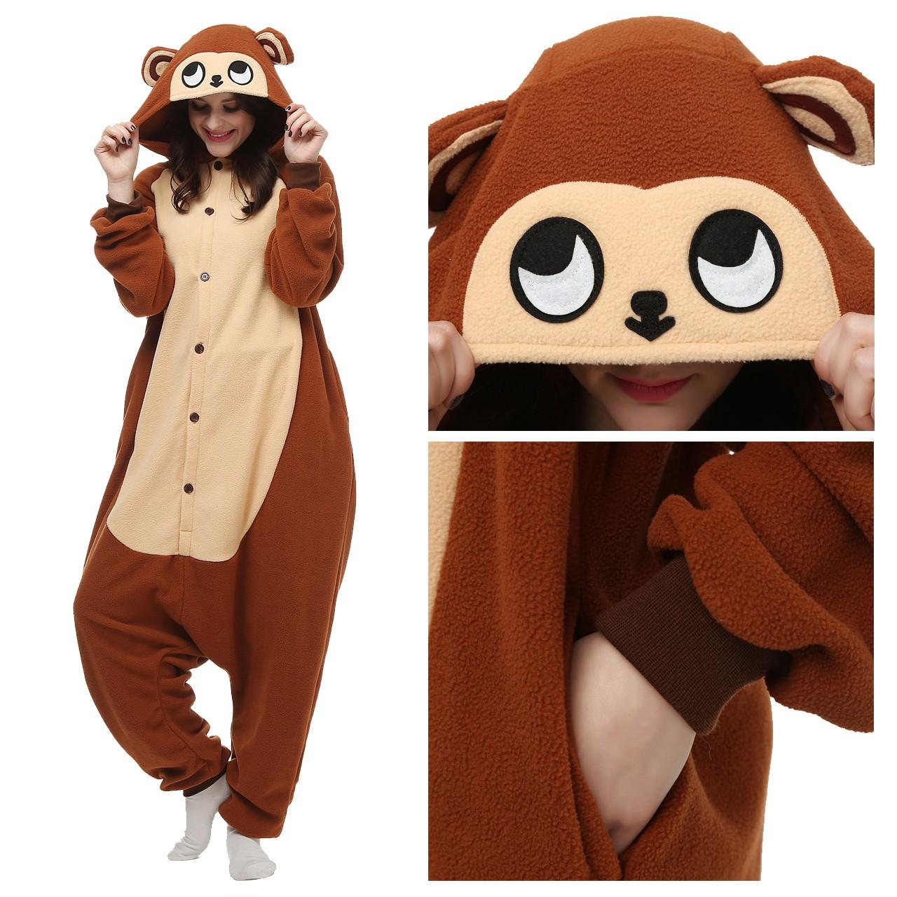 95aab5b160 Monkey Onesie Animal Pajamas for Adult Kigurumi Party Costumes