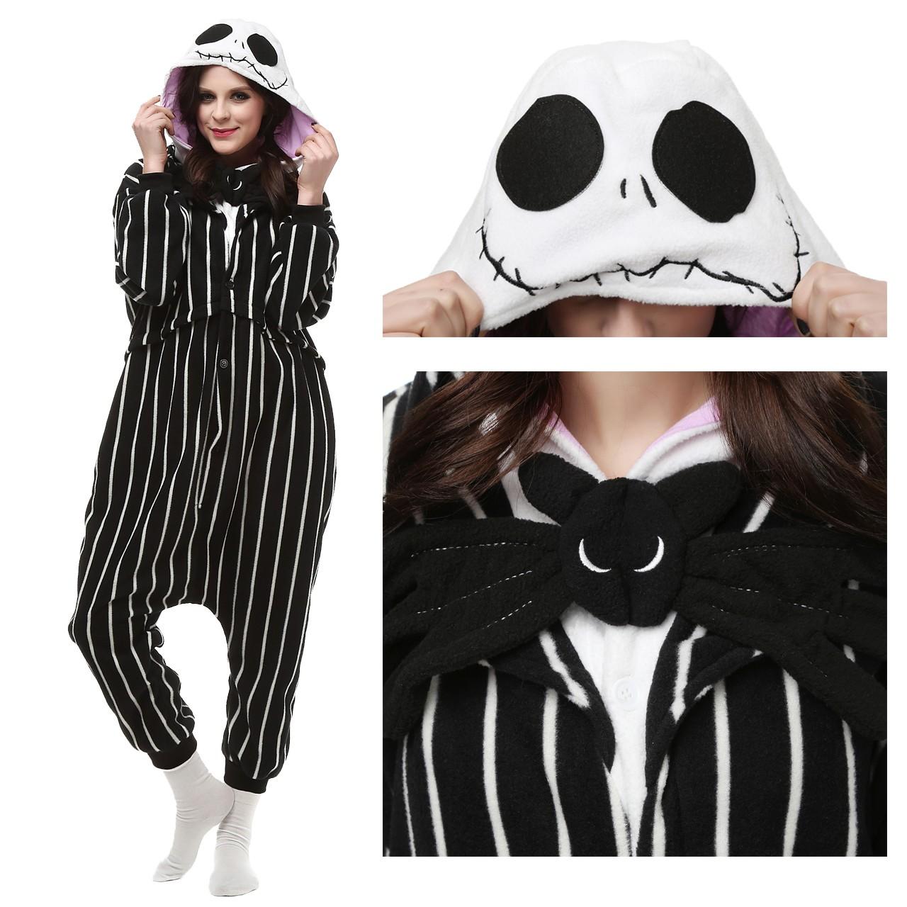 750c779f5f Jack Skellington Onesie Kigurumi Pajama for Adult Halloween Carnival  Costumes
