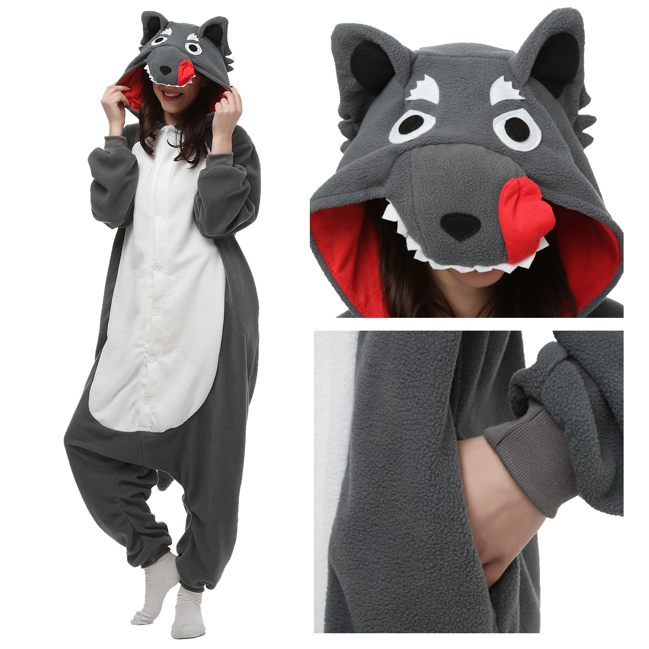 78a270e55091 Wolf Onesie Unisex Women   Men Kigurumi Pajama Halloween Costumes