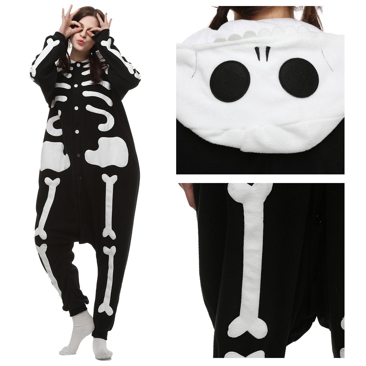 02736bea504 Skeleton Onesie Unisex Women   Men Kigurumi Pajama Carnival Costumes