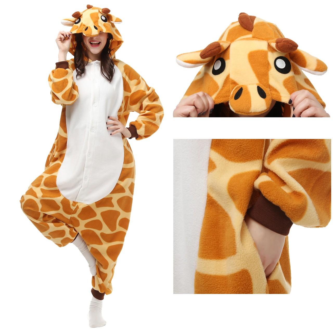 Giraffe Onesie Animal Pajama Women   Men Kigurumi Halloween Carnival  Costumes 05bc626ca