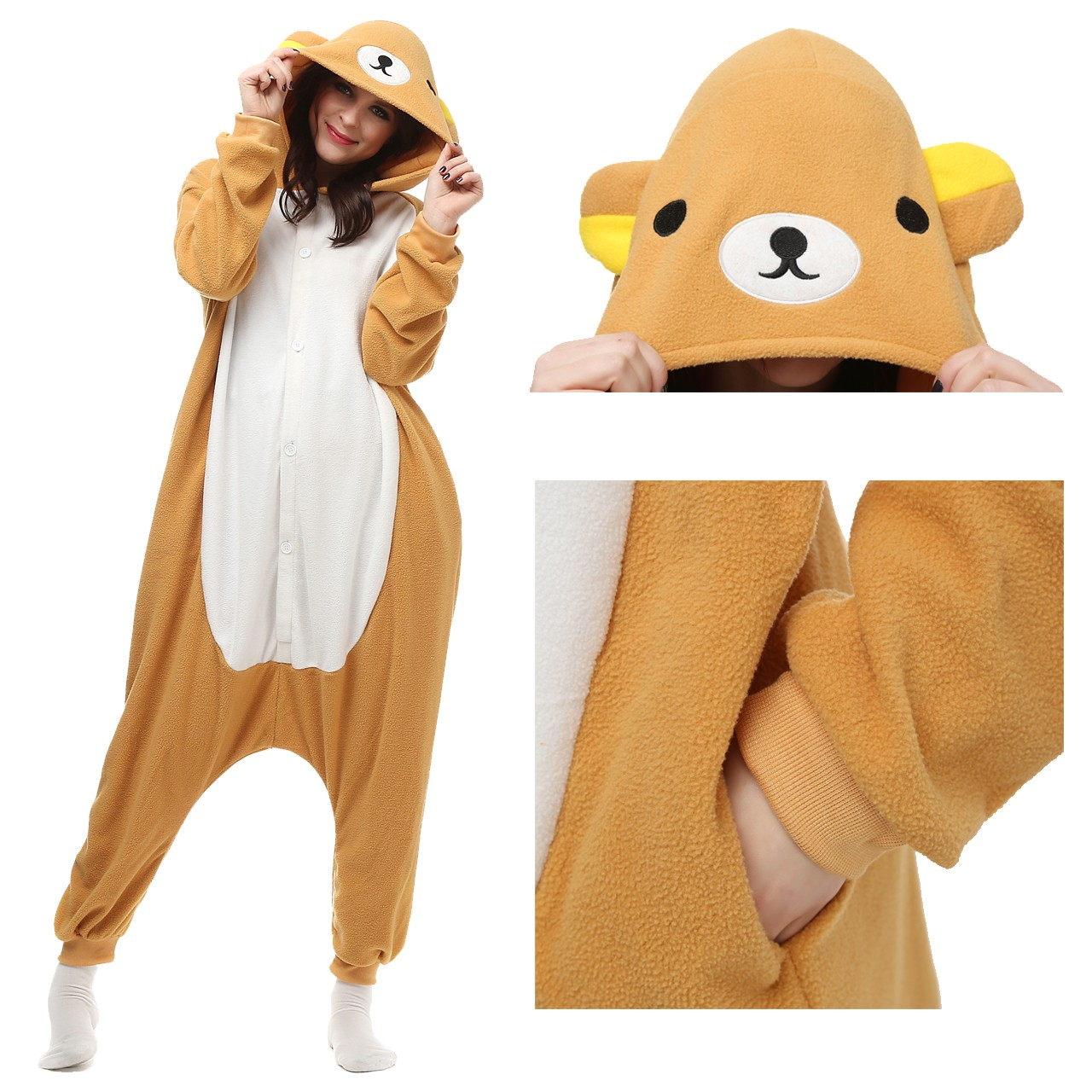 2a45186b61 Rilakkuma Onesie Unisex Women   Men Animal Pajama Kigurumi Party Costume