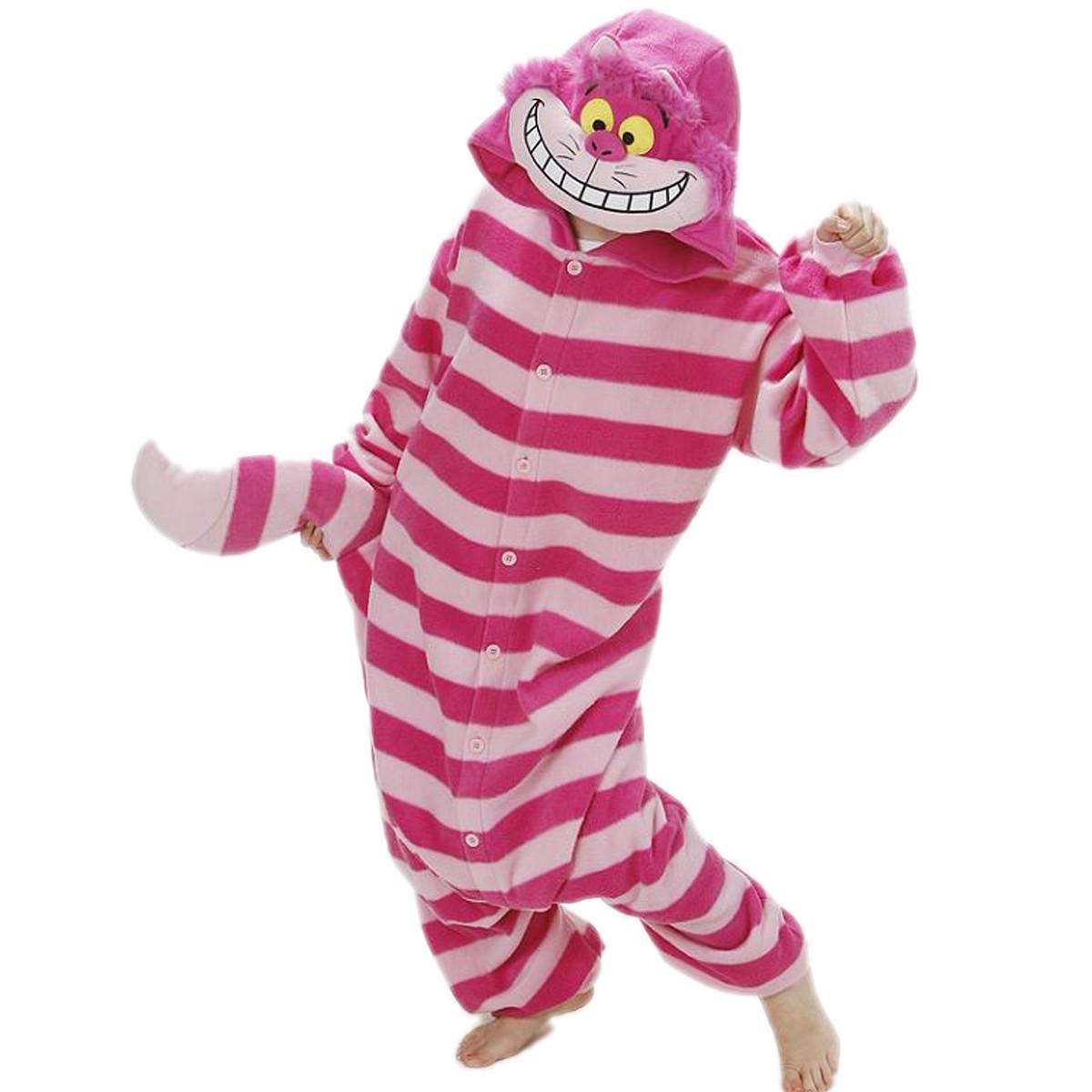 6ce68e9d0 Cheshire Cat Onesie Unisex Women & Men Animal Kigurumi Pajama Halloween  Party Costumes