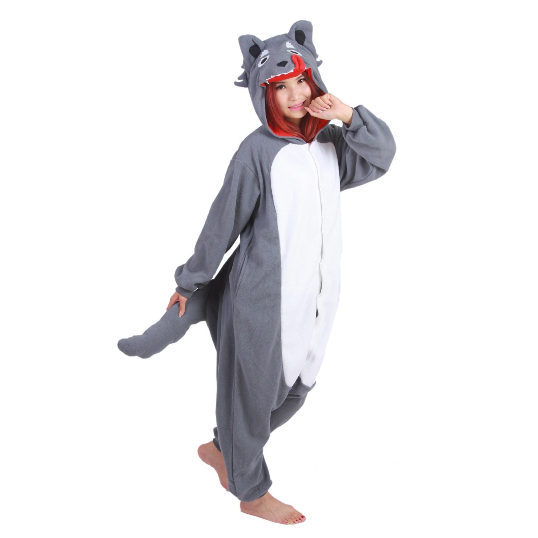 a1d3d8b37b49 Grey Wolf Onesie Unisex Women   Men Animal Kigurumi Pajama Halloween Party  Costumes