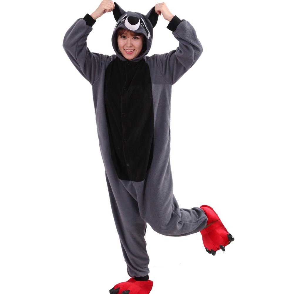 ef8b46e5e98c Grey Panda Raccoon Onesie Unisex Women   Men Animal Pajamas Kigurumi  Halloween Costumes