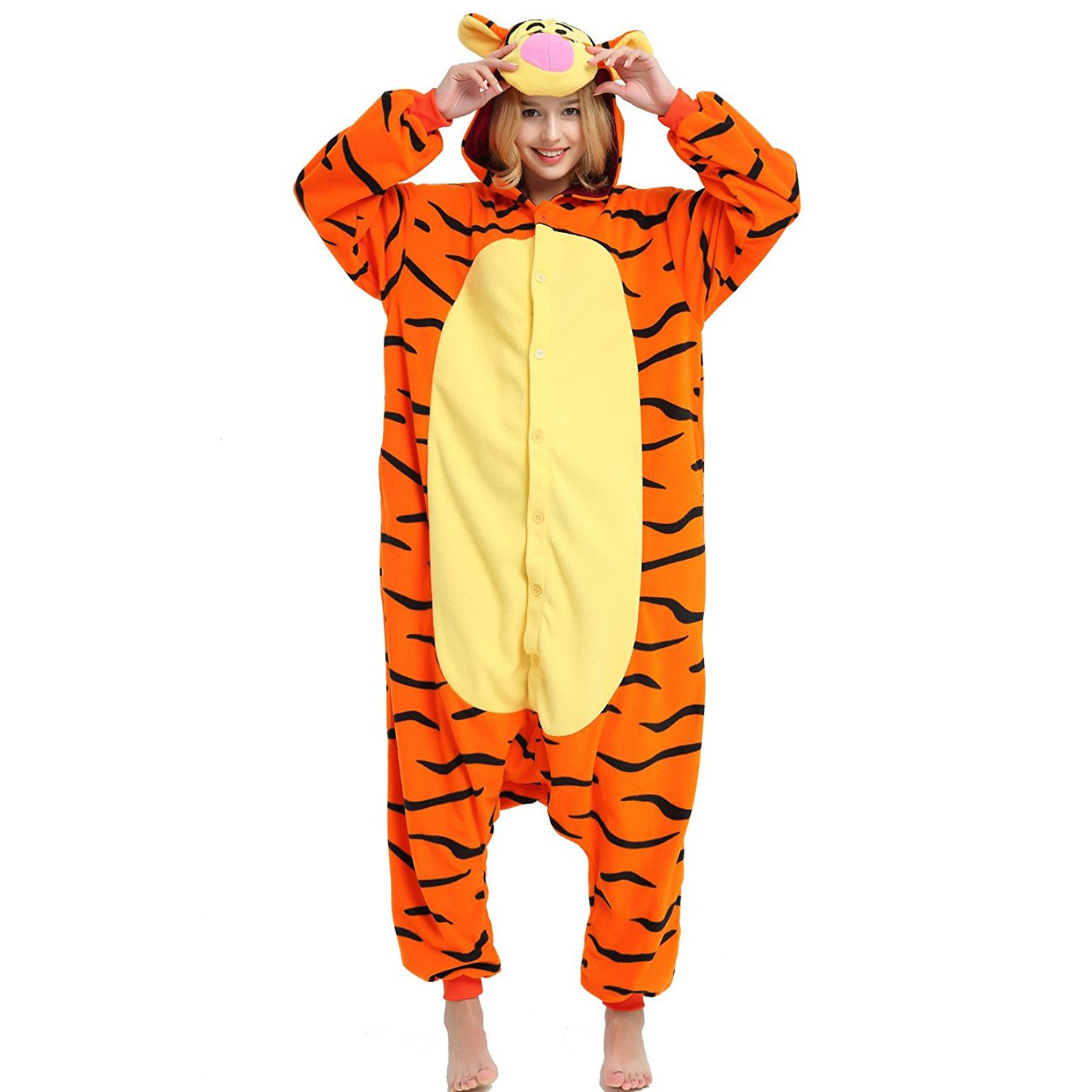 cd5c877d76eb Winnie the Pooh Tigger Onesie for Adult Disney Kigurumi Pajamas Party  Halloween Costumes