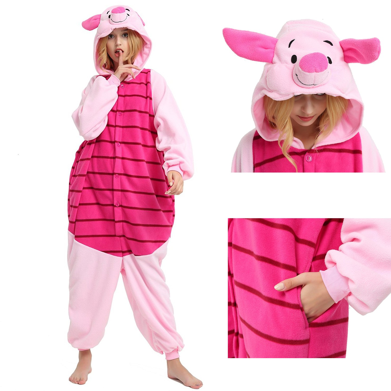 e3a6eaab666d Winnie the Pooh Piglet Onesie for Adult Disney Kigurumi Pajamas Party  Halloween Costumes