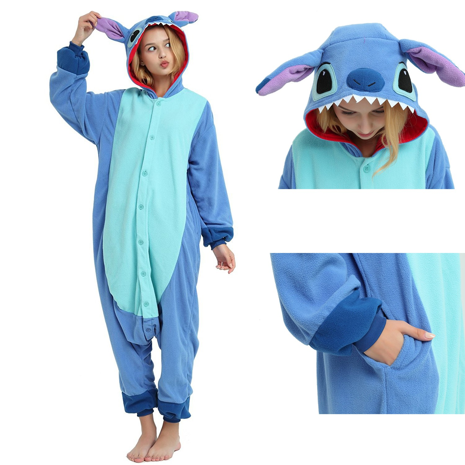 756793002ad9 Stitch Onesie Unisex Women & Men Kigurumi Pajama Disney Cosplay Party  Costumes