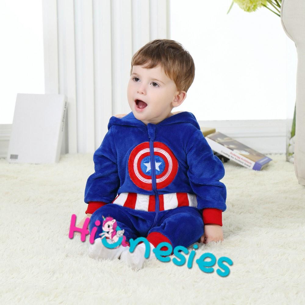 13731e949cd9 Loading ... Captain America Onesie for Baby   Toddler Animal Kigurumi  Pajama ...