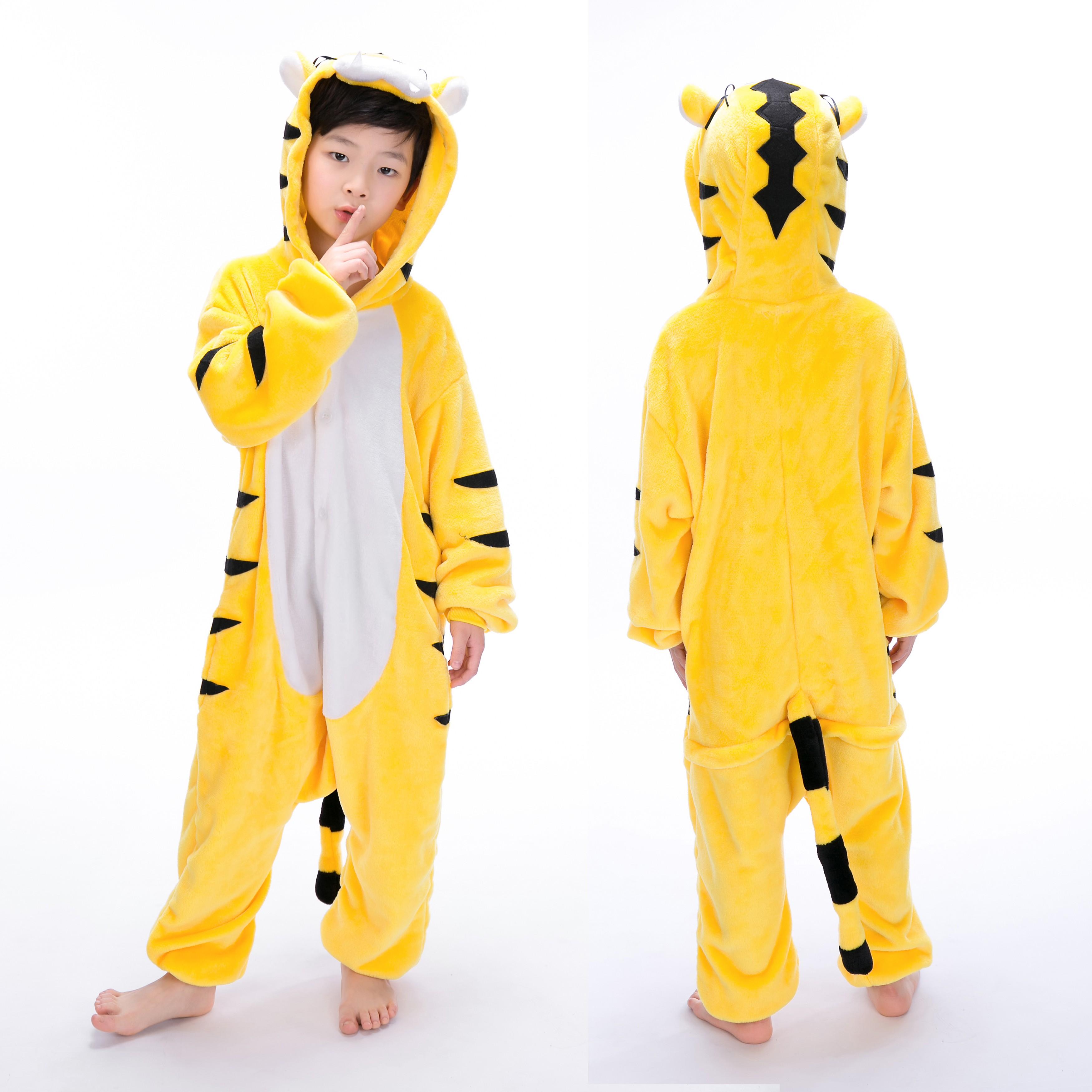 7c8bdee859c3 Yellow Tiger Onesie for Kid Animal Kigurumi Pajama Halloween Costumes