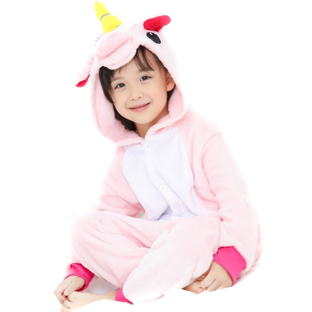 Pink Unicorn Onesie For Kid Animal Kigurumi Pajama Party