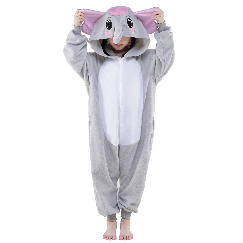 7d9bdc8e7 Gray Elephant Onesie for Kid Animal Kigurumi Pajama Halloween Costumes