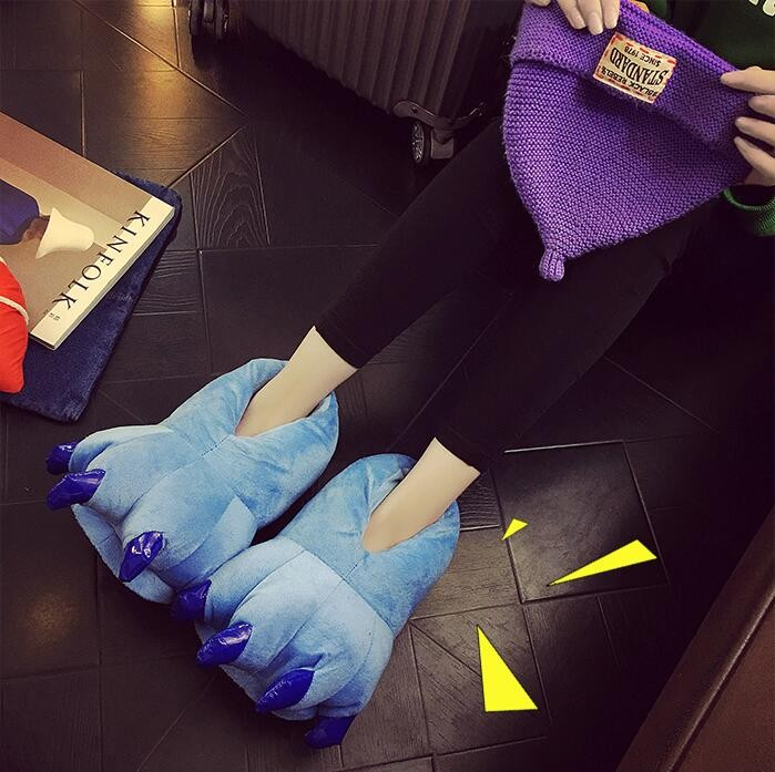 Blue Unisex Plush Paw Claw House Slippers Animal Costume Shoes