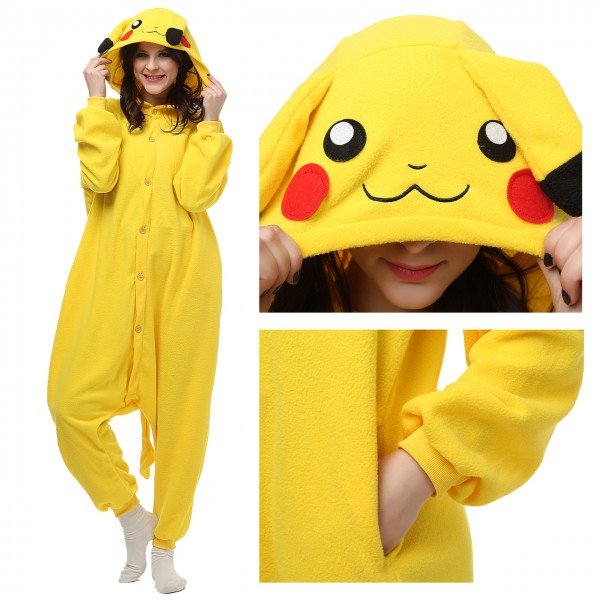 Pikachu Onesie Unisex Women & Men Kigurumi Pajama Pokemon Halloween Costumes
