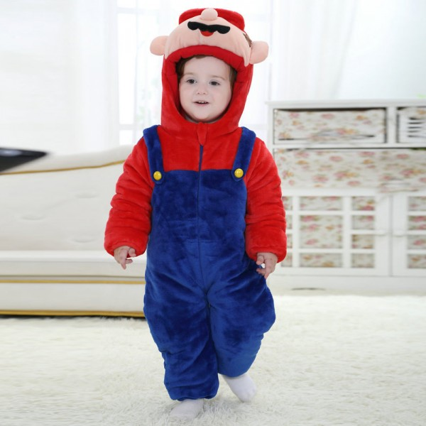 Super Marie Onesie for Baby & Toddler Kigurumi Pajama Cosplay Halloween Costumes